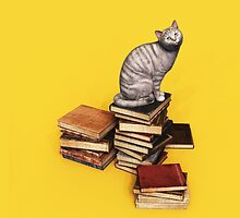 British Cat on a stack of books iPad Cases by Roberta Angiolani