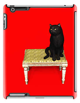 Black Cat on stool iPad by Roberta Angiolani