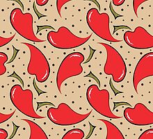 seamless pattern with red peppers by Irinavk