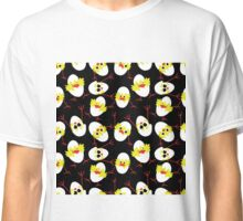seamless pattern with many chickens on black background Classic T-Shirt