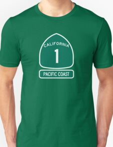 California 1 - Pacific Coast, Road Sign Unisex T-Shirt