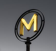 Metro sign in Paris (Yellow and Grey) by Olivier Sohn