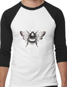 Black and White Bumble-Bee drawing. Men's Baseball ¾ T-Shirt