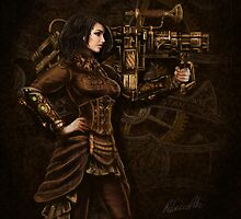 Steam Punk Girl Holding Antique Rocket Launcher by Becky Pike