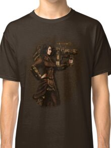 Steam Punk Girl Holding Antique Rocket Launcher Classic T-Shirt
