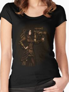 Steam Punk Girl Holding Antique Rocket Launcher Women's Fitted Scoop T-Shirt