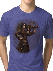 Steam Punk Girl Holding Antique Rocket Launcher Tri-blend T-Shirt