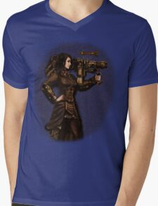 Steam Punk Girl Holding Antique Rocket Launcher Mens V-Neck T-Shirt