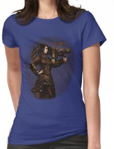 Steam Punk Girl Holding Antique Rocket Launcher Womens Fitted T-Shirt