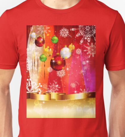 Colorful Background with Xmas Balls 3 Unisex T-Shirt
