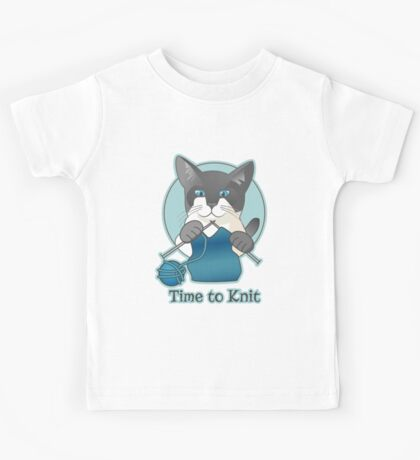 Time to Knit Siamese Cat Knitting Kids Tee