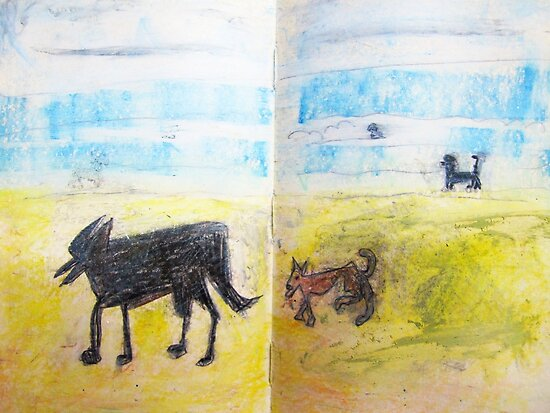 3 dogs at the beach by donnamalone