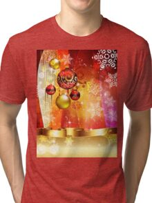 Colorful Background with Xmas Balls 4 Tri-blend T-Shirt