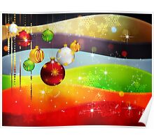 Colorful Background with Xmas Balls 5 Poster