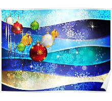 Colorful Background with Xmas Balls 6 Poster