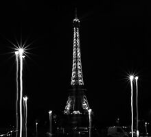 Eiffel Tower with liquified lights, Paris, France by Olivier Sohn