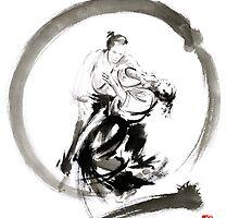 Aikido enso circle martial arts sumi-e samurai ink painting artwork by Mariusz Szmerdt