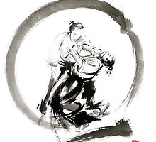 Aikido enso circle martial arts sumi-e samurai ink painting artwork by Mariusz Szmerdt