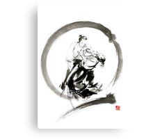 Aikido enso circle martial arts sumi-e samurai ink painting artwork Canvas Print