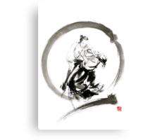 Aikido enso circle martial arts sumi-e samurai ink painting artwork Canvas Print