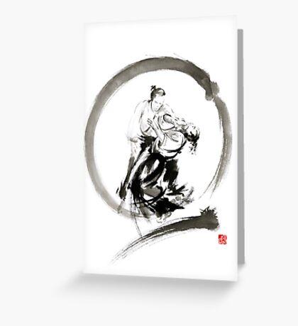 Aikido enso circle martial arts sumi-e samurai ink painting artwork Greeting Card