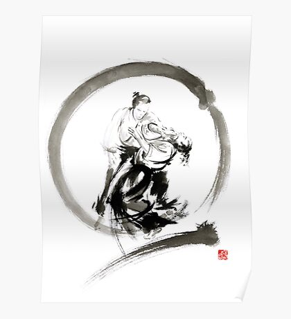 Aikido enso circle martial arts sumi-e samurai ink painting artwork Poster