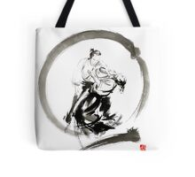 Aikido enso circle martial arts sumi-e samurai ink painting artwork Tote Bag