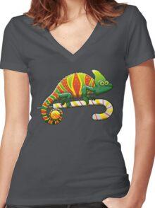 Christmas Chameleon Women's Fitted V-Neck T-Shirt