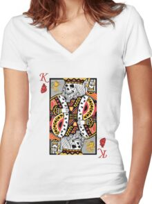 Horror Skeleton King Playing Card Women's Fitted V-Neck T-Shirt