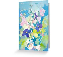 Hollyhocks and Clematis Greeting Card