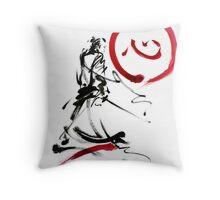 Samurai enso circle wild fury bushi bushido martial arts sumi-e  Throw Pillow