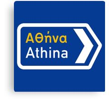 Athens, Road Sign, Greece Canvas Print