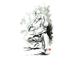 Karate martial arts kyokushinkai Masutatsu Oyama japanese kick japan ink sumi-e Photographic Print