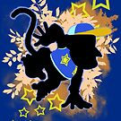 Super Smash Bros. Blue Diddy Kong Silhouette by jewlecho