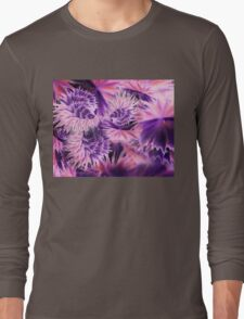 Abstract Purple Flowers Long Sleeve T-Shirt
