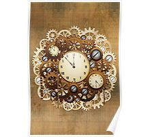 Steampunk Vintage Style Clocks and Gears Poster