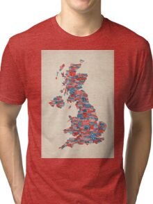 Great Britain UK City Text Map Tri-blend T-Shirt