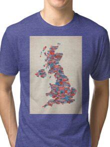 Great Britain UK City Text Map Tri-blend T-Shirt