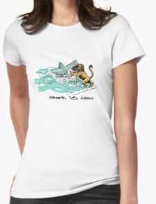 Shark Vs. Lion Womens Fitted T-Shirt