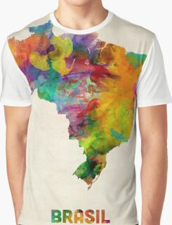 Brazil Watercolor Map Graphic T-Shirt