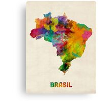 Brazil Watercolor Map Canvas Print