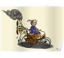 Steampunk vintage Peugeot style car (yellow) Poster