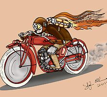 STEAMPUNK INDIAN STYLE MOTORCYCLE (Orange) by squigglemonkey