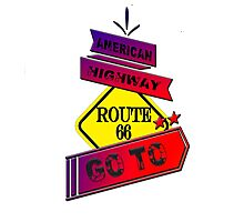 Traffic signal Route 66 america higway  Photographic Print