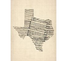Old Sheet Music Map of Texas Photographic Print