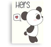 """His & Hers"" Panda (Couple Case) Boy Version [B&W] Canvas Print"