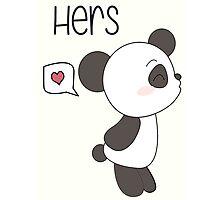 """His & Hers"" Panda (Couple Case) Boy Version [B&W] Photographic Print"