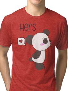 """""""His & Hers"""" Panda (Couple Shirts) Boy Version Tri-blend T-Shirt"""