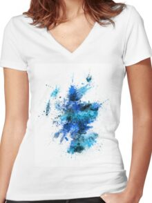 Scotland Paint Splashes Map Women's Fitted V-Neck T-Shirt