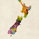 New Zealand, Watercolor Map by Michael Tompsett
